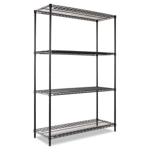 Alera® Industrial Heavy-Duty Wire Shelving Starter Kit, 4-Shelf, 48w x 18d x 72h, Black