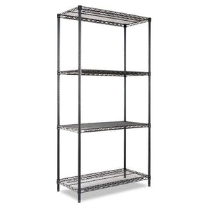 Alera® Industrial Heavy-Duty Wire Shelving Starter Kit, 4-Shelf, 36w x 18d x 72h, Black