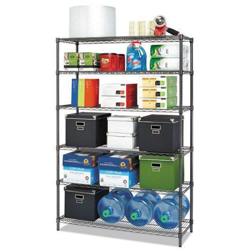 Alera® Commercial Wire Shelving, Six-Shelf, 48w x 18d x 72h, Black Anthracite