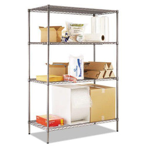 Alera® Wire Shelving Starter Kit, Four-Shelf, 48w x 24d x 72h, Black Anthracite