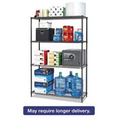Alera® BA Plus Wire Shelving Starter Kit, 4-Shelf, 48 x 18 x 72, Black Anthracite+