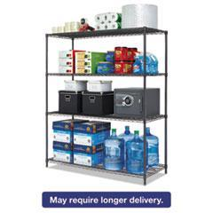 Alera® All-Purpose Wire Shelving Starter Kit, 4-Shelf, 60 x 24 x 72, Black Anthracite+