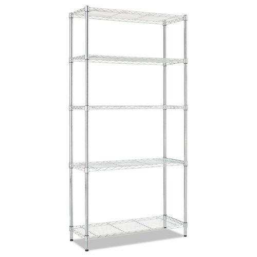 Alera® Residential Wire Shelving, Five-Shelf, 36w x 14d x 72h, Silver