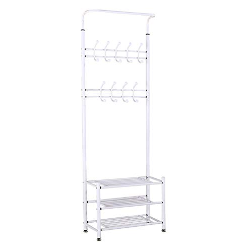 Berry Ave 3-Tier Coat Shoe Rack (White) Front Door Entryway Shelf and Closet Bedroom Organizer | Wide, Heavy-Duty Metal Storage Shelving Bench | Classic Home Decor