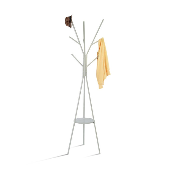 HOME BI Coat Rack Stand, Coat Hanger with 9 Hooks for Holding Jacket, Hat, Purse in Gray