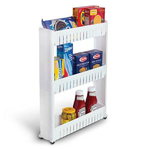 Bathroom and Kitchen Slim Storage Organizer - Slide Out Shelf Storage Tower as a Plastic Small Mobile Shelving with 3 Shelves for Narrow Space Organization in Laundry Room Closet Office