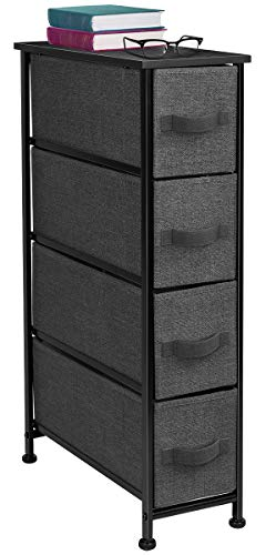 Sorbus Narrow Dresser Tower with 4 Drawers - Vertical Storage for Bedroom, Bathroom, Laundry, Closets, and More, Steel Frame, Wood Top, Easy Pull Fabric Bins (Black/Charcoal)