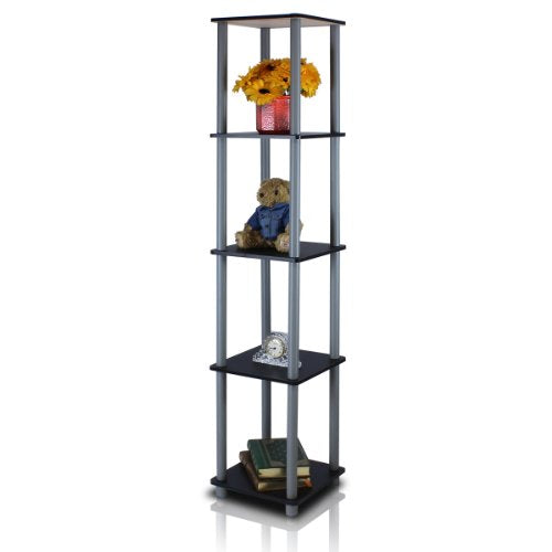FURINNO Turn-N-Tube 5-Tier Corner Square Rack Display Shelf, Round, Black/Grey