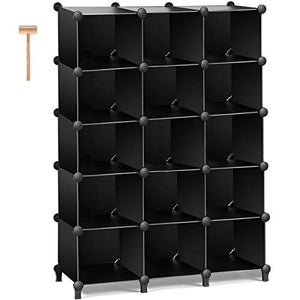 TomCare Shoe Rack 15-Cube Plastic Cube Storage Shelves Shoe Organizer Shoe Storage Shelves DIY Modular Shoe Closet Cabinet Organizer Units for Doorway Entryway Bedroom Living Room Office Black