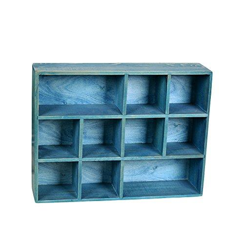 12 Grid Drawer Organizer Wooden Divider Storage Box Wood Craft Boxes For Weddings, Crafts (Brown), 12W*16L*3.5H Inch (Sea Blue)