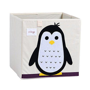 DODYMPS Foldable Animal Canvas Storage Toy Box/Bin/Cube/Chest/Basket/Organizer For Kids, 13 inch (Penguin)
