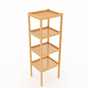 "BATHWA Bamboo Bathroom Shelf 4-Tier Multifunctional Storage Standing Rack Shelving Unit Tower Free Organizer 43.7"" Height"