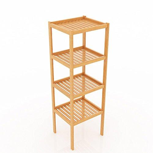 BATHWA Bamboo Bathroom Shelf 4-Tier Multifunctional Storage Standing Rack Shelving Unit Tower Free Organizer 43.7