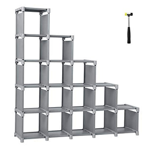 SONGMICS 16 Cube Shoe, DIY Modular Storage Shelves Bookshelf Toy Rack, Display Cabinet Closet Organizer Unit, Includes Rubber Mallet, Gray ULSN56GY, Grey