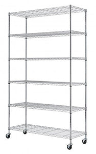 "SafeRacks NSF 6-Tier Wire Shelving Rack with Wheels, Zinc, 18"" x 48"" x 72"""