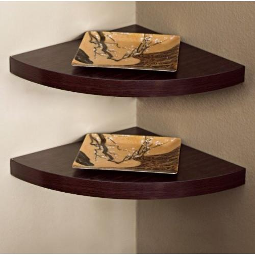 Set of 2 Corner Radial Wall Shelves - Walnut Laminate
