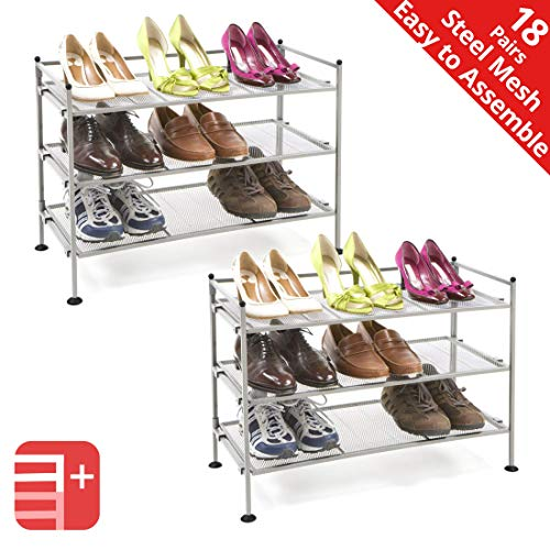 Seville Classics 3-Tier Stackable 9-Pair Steel Mesh Shelf Sturdy Metal Frame Shoe Storage Rack (2-Pack) Organizer, Perfect for Bedroom, Closet, Entryway, Dorm Room, Satin Pewter
