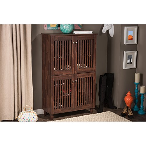 Baxton Studio Wholesale Interiors Fernanda Modern and Contemporary 4-Door Oak Brown Wooden Entryway Shoes Storage Tall Cabinet