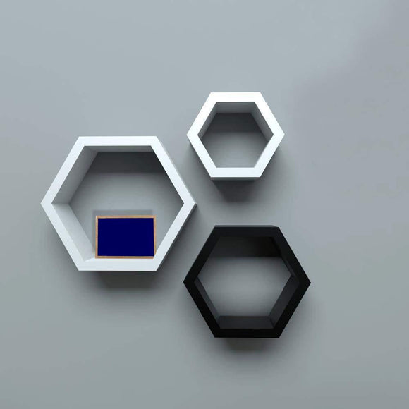 Wall Shelf Rack Set of 3 Hexagon Shape Storage Wall Shelves for Home - (Black & White)