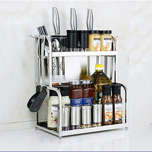 BJLWT Kitchen Storage Rack-Spice Utensil Rack Organizer Storage Unit Shelf with Hanging Hooks Oil Salt Sauce Vinegar Seasoning Rack,Stainless Steel (Size : 50cm)