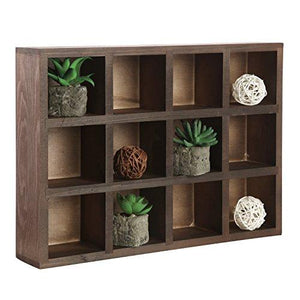 12 Compartment Brown Wood Freestanding Or Wall Mounted Shadow Box, Display Shelf Shelving Unit