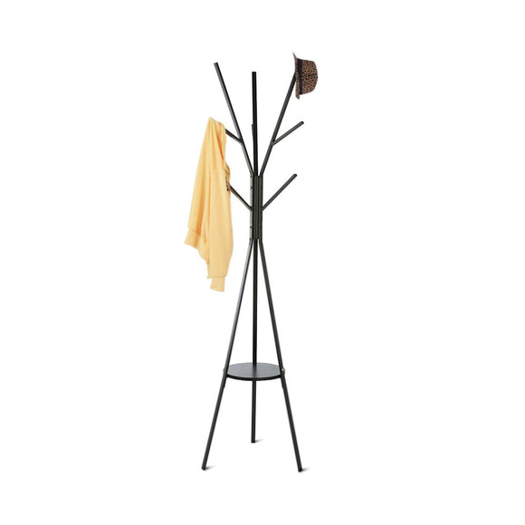 HOME BI Coat Rack Stand, Coat Hanger with 9 Hooks for Holding Jacket, Hat, Purse in Black