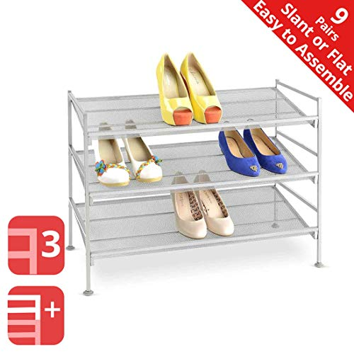 Seville Classics 3-Tier Stackable 9-Pair Multi-Position Iron Mesh Metal Frame Shoe Storage Rack Organizer, Perfect for Bedroom, Closet, Entryway, Dorm Room, (Adjustable), Satin Pewter