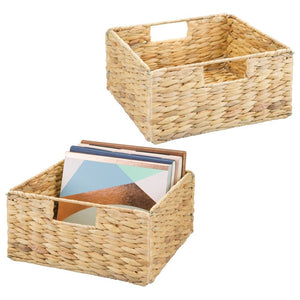 "mDesign Natural Woven Hyacinth Closet Storage Organizer Basket Bin - Open Top, Built-in Handles, Collapsible - for Closet, Bedroom, Bathroom, Entryway, Office - 5.25"" High, 2 Pack - Natural/Tan"
