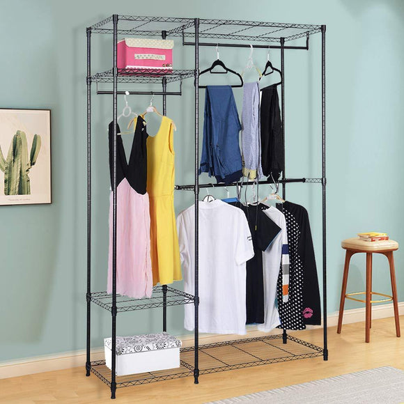 S AFSTAR Safstar Heavy Duty Clothing Garment Rack Wire Shelving Closet Clothes Stand Rack Double Rod Wardrobe Metal Storage Rack Freestanding Cloth Armoire Organizer (1 Pack)