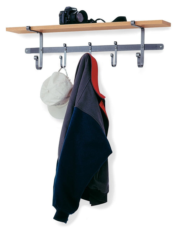 Enclume Shelf Coat Rack with Hardwood Shelf, Hammered Steel