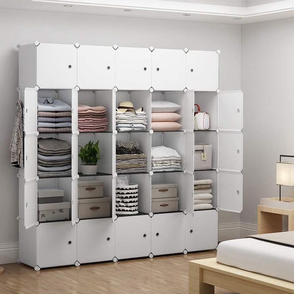 YOZO Modular Closet Portable Wardrobe for Teens Kids Chest Drawer Ployresin Clothes Storage Organizer Cube Shelving Unit Multifunction Toy Cabinet Bookshelf DIY Furniture, White, 25 Cubes