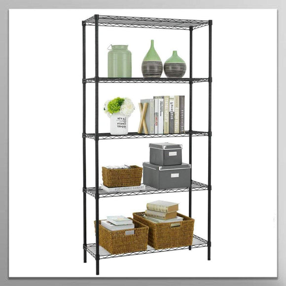 5 Shelf Wire Shelving Unit Garage NSF Wire Shelf Metal Large Storage Shelves Heavy Duty Height Adjustable Utility Commercial Grade Steel Layer Shelf Rack Organizer 1250 LBS Capacity -14x36x72,Black