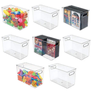"mDesign Deep Plastic Home Storage Organizer Bin for Cube Furniture Shelving in Office, Entryway, Closet, Cabinet, Bedroom, Laundry Room, Nursery, Kids Toy Room - 12"" x 6"" x 7.75"" - 8 Pack - Clear"