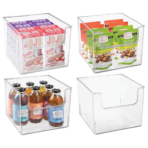 "mDesign Plastic Open Front Food Storage Bin for Kitchen Cabinet, Pantry, Shelf, Fridge/Freezer - Organizer for Fruit, Potatoes, Onions, Drinks, Snacks, Pasta - 10"" Wide, 4 Pack - Clear"