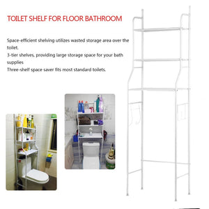 3 Shelves Space-Saving Bathroom Shelving Unit, Over The Toilet Storage Rack, 62 X17X9 inch