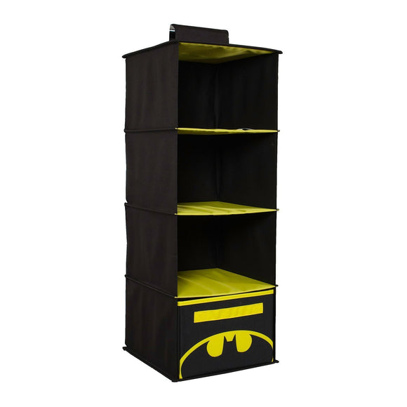 Everything Mary Col Batman 4 Shelves Clothing Closet and Bedroom DC Comics Towel Accessory Storage, Collapsible Hanging Organizer