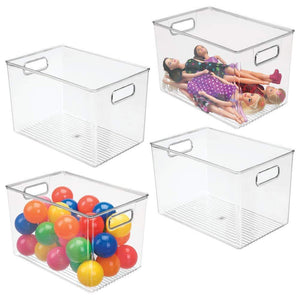 "mDesign Deep Plastic Home Storage Organizer Bin for Cube Furniture Shelving in Office, Entryway, Closet, Cabinet, Bedroom, Laundry Room, Nursery, Kids Toy Room - 12"" x 8"" x 8"" - 4 Pack - Clear"
