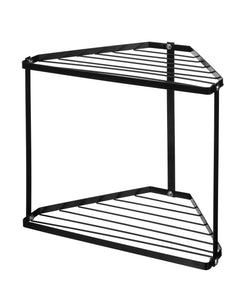 "NEUN WELTEN 2 Tier Corner Storage Shelf Free Standing Kitchen Counter Organizer 12.8"" x 8.8"" x 11.8"" (Black)"