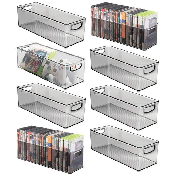 mDesign Plastic Stackable Household Storage Organizer Container Bin with Handles - for Media Consoles, Closets, Cabinets - Holds DVD's, Video Games, Gaming Accessories, Head Sets - 8 Pack - Smoke Gray