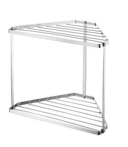"NEUN WELTEN 2 Tier Corner Storage Shelf Free Standing Kitchen Counter Organizer 12.8"" x 8.8"" x 11.8"" (Chrome)"