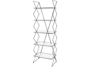 Bossa Five Tier Antique Silver Cross Frame Iron Shelving Unit