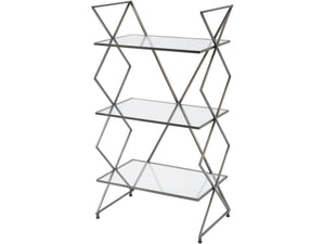 Bossa Three Tier Antique Silver Cross Frame Iron Shelving Unit