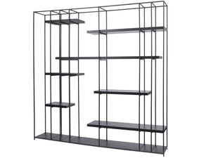 Chancery Black Metal And Black Ash Shelving Unit