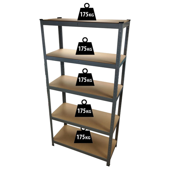 1.8M 5 Tier Metal Shelving Unit - Silver