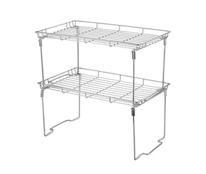 "Stackable and Foldable Kitchen Shelf Organizer 15""L x 9""W x 7.5""H (Pack of 2, Chrome)"