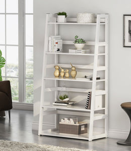 Tribesigns 5-Tier Bookshelf Modern Bookcase, Freestanding Leaning Ladder Shelf, Ample Storage Space for CD, Books, Home Decor (White)