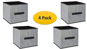 Storage Cube Organizer - Small Collapsible Storage Cubes in Black (4) Closet Organizers - Storage Container With Handle - Bedroom Storage Drawers