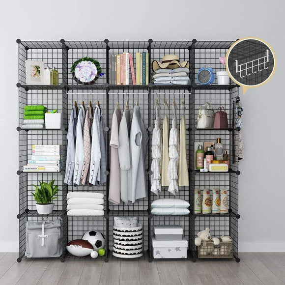 GEORGE&DANIS Wire Storage Cubes Metal Shelving Unit Portable Closet Wardrobe Organizer Multi-use Rack Modular Cubbies, Black, 14 inches Depth, 5x5 Tiers
