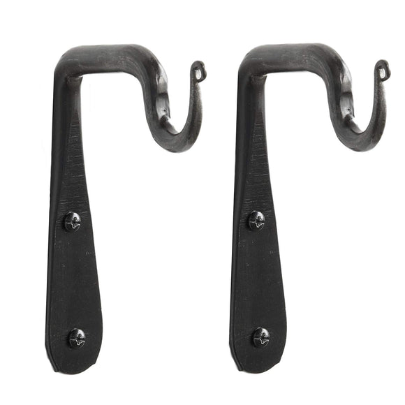 Set of 2 Wall Mounted Hand Forged Straight Wrought Iron Hanging Coat Hook Hanger Rustic Vintage Style Bracket