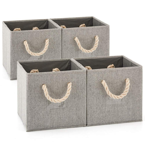 Set of 4 EZOWare Foldable Bamboo Fabric Storage Bin with Cotton Rope Handle, Collapsible Resistant Basket Box Organizer for Shelves, Closet, and More – (10.5x11x10.5 inch) (Gray/Gray)